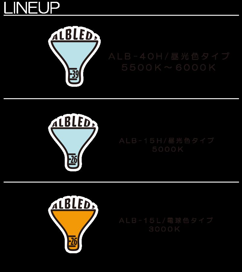 LINEUP ALB-40H/昼光色タイプ 5500K~6000K ALB-15H/昼光色タイプ 5000K ALB-15L/電球色タイプ 3000K