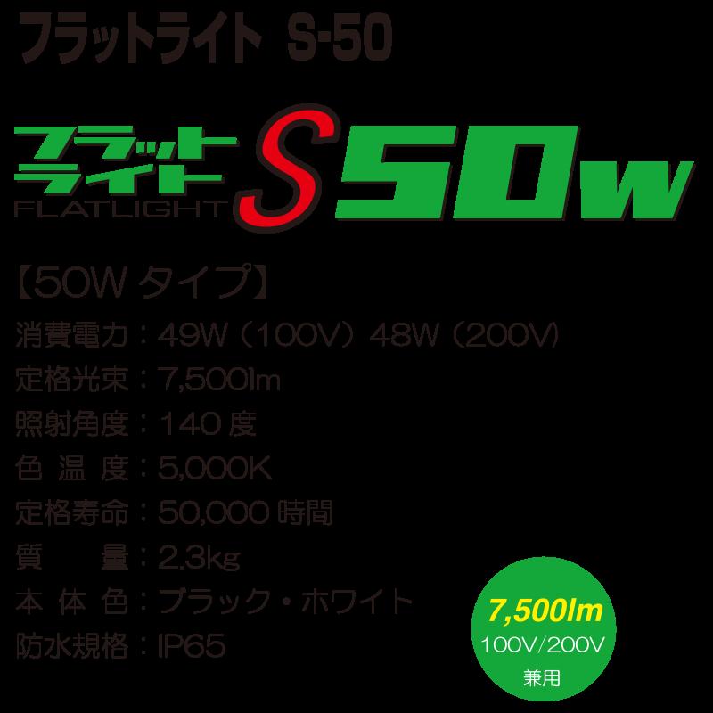 フラットライト S-50【50Wタイプ】 消費電力:49W(100V) 48W(200V) 定格光束:7,500lm 照射角度:140度 色温度:5,000K 定格寿命:50,000時間 質量:2.3kg 本体色:ブラック・ホワイト 防水規格:IP65